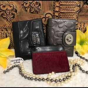 COACH & Fossil 3 Piece Wallet ID Set Fair Cond.